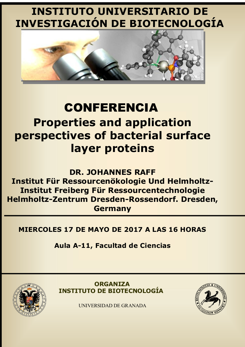"Conferencia ""Properties and application perspectives of bacterial surface layer proteins"""