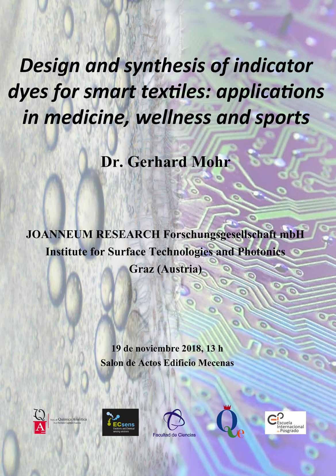 Design and synthesis of indicator dyes for smart textiles: applications in medicine, wellness and sports.