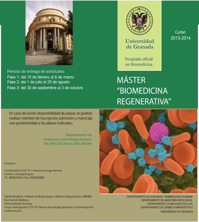 Máster Oficial de Biomedicina Regenerativa