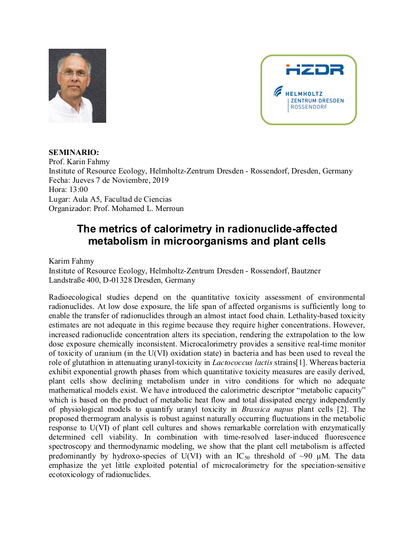 Seminario: The metrics of calorimetry in radionuclide-affected metabolism in microorganisms and plant cells